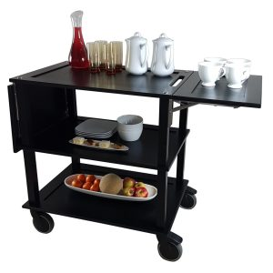 Burford Black Oak Drop Leaf Hospitality Trolley 805-1460x558x855 leaf down