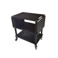 Burford Black Oak Drop Leaf Hospitality Trolley leafs down side view