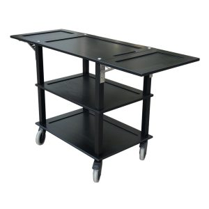 Burford Black Oak Drop Leaf Hospitality Trolley side view