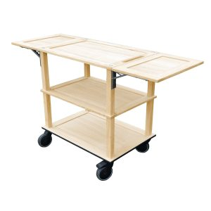 Burford Lacquered Oak Drop Leaf Hospitality Trolley 805-1460x558x855