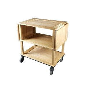 Burford Natural Oak Drop Leaf Hospitality Trolley leafs down side view