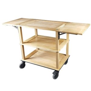 Burford Lacquered Oak Drop Leaf Hospitality Trolley side view
