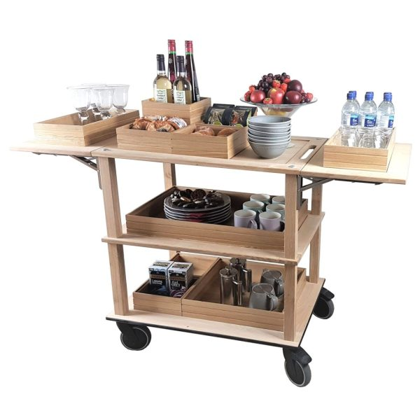 Catering Burford Natural Oak Drop Leaf Hospitality Trolley 805-1460x558x855