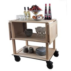 Catering Burford Natural Oak Drop Leaf Hospitality Trolley 805-1460x558x855 flaps down