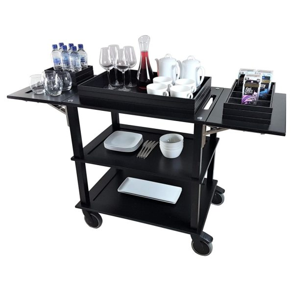 Executive Burford BlackOak Drop Leaf Hospitality Trolley 805-1460x558x855