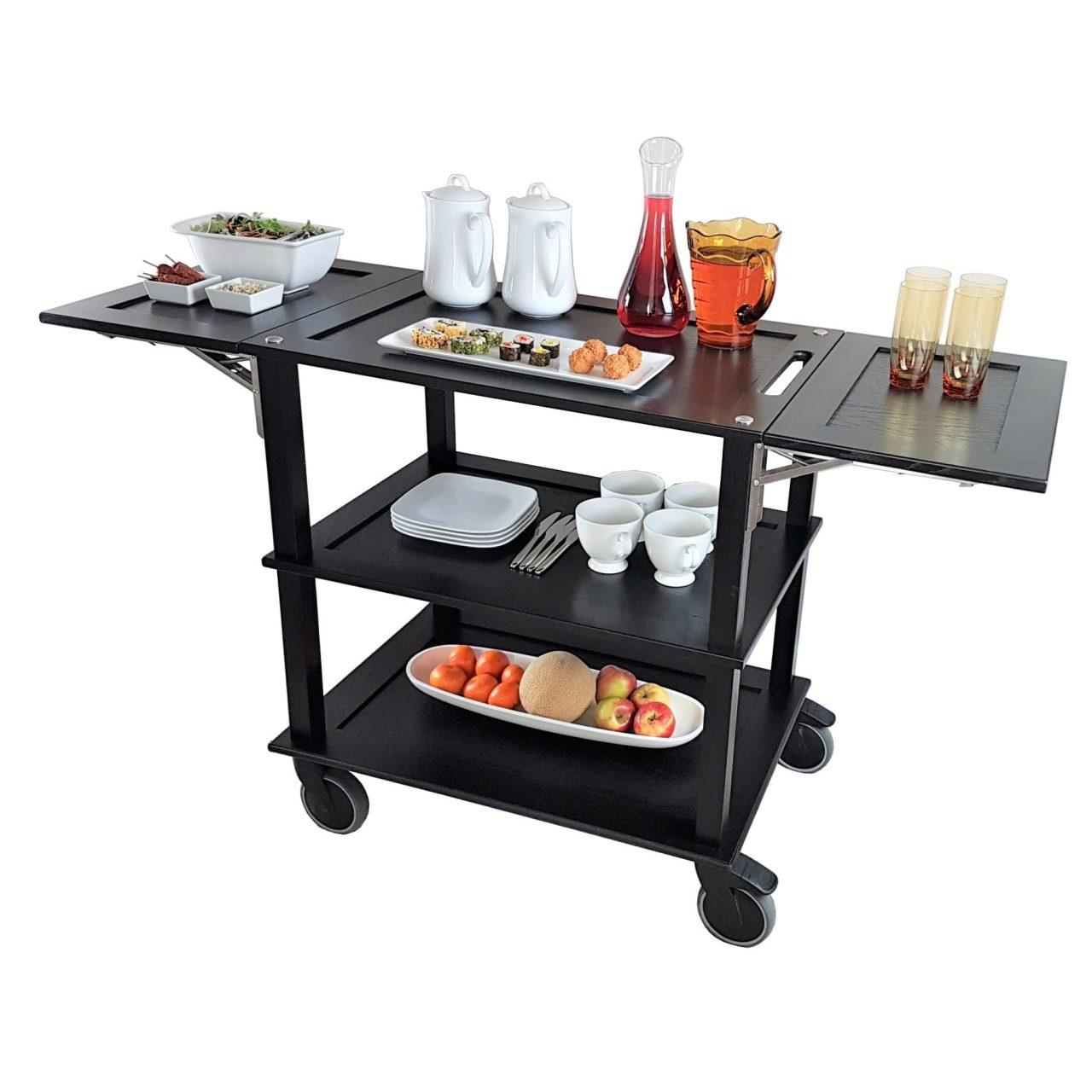 Executive Catering Burford Black Oak Drop Leaf Hospitality Trolley 805-1460x558x855