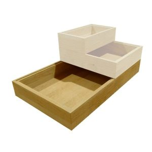 GN1/1 plain oak stacker box in stacked set
