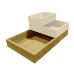 GN1/1 ribbed oak stacker box in stacked set