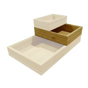 GN1/2 ribbed oak stacker box in stacked set
