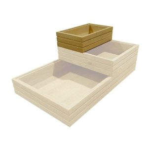 GN1/4 ribbed oak stacker box in stacked set