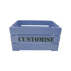 Kingscote Blue painted bespoke stencil crate 500x370x250