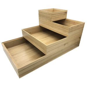 Lacquered Ribbed Oak Trolley Stacker boxes stacked