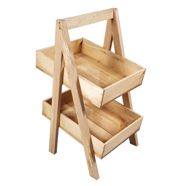 Light Oak Rustic Slim 2-Tier Slanted Wooden A-Frame Display Stand 326x385x650
