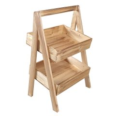 Light Oak Rustic 2-Tier Slanted Wooden A-Frame Display Stand 410x310x650