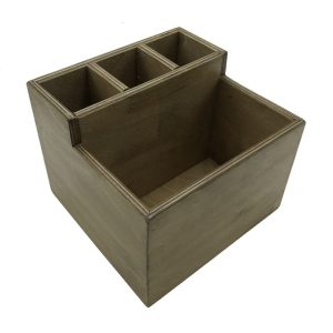 Distressed Rustic 2-Tier 4 Compartment Cutlery & Condiment Holder 190x200x160