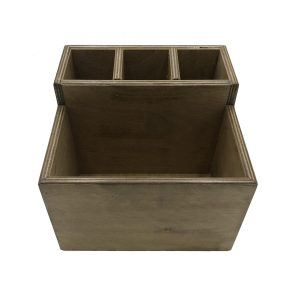 distressed Rustic 2-tier 4 compartment condiment & cutlery holder front view