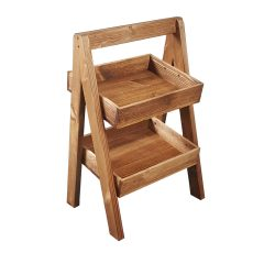 Rustic brown 500MM wide 2-TIER SLANTED WOODEN A-FRAME DISPLAY STAND