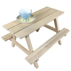 lacquered large oak mini picnic bench display riser with cup