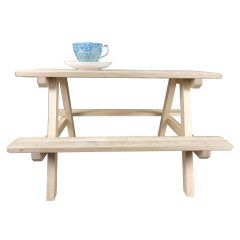 lacquered large oak mini picnic bench display riser with cup from the side