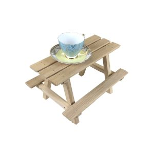lacquered small oak mini picnic bench display riser with cup