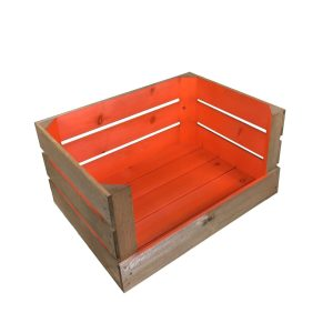orange 500mm colour burst drop front crate