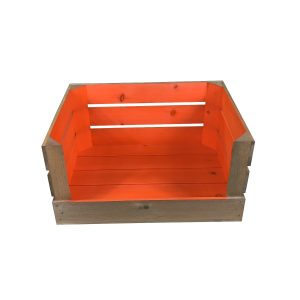 orange 500mm colour burst drop front crate front view