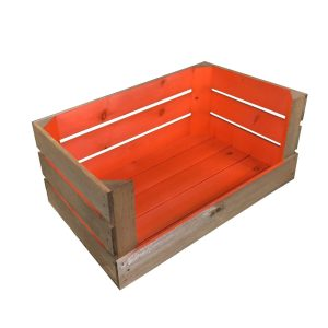 orange 600mm colour burst drop front crate