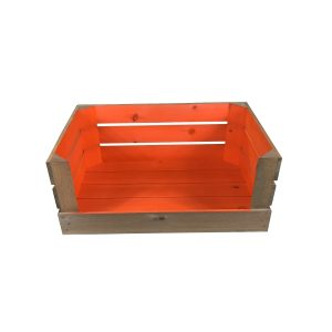 orange 600mm colour burst drop front crate front view