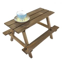 rustic brown large rustic mini picnic bench display riser with cup