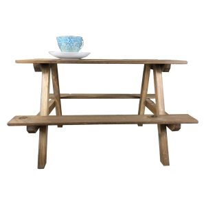 rustic brown large rustic mini picnic bench display riser with cup side view