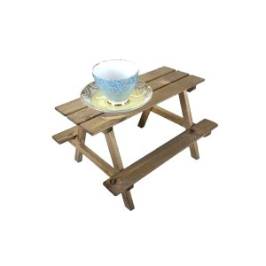 rustic brown small rustic mini picnic bench display riser with cup