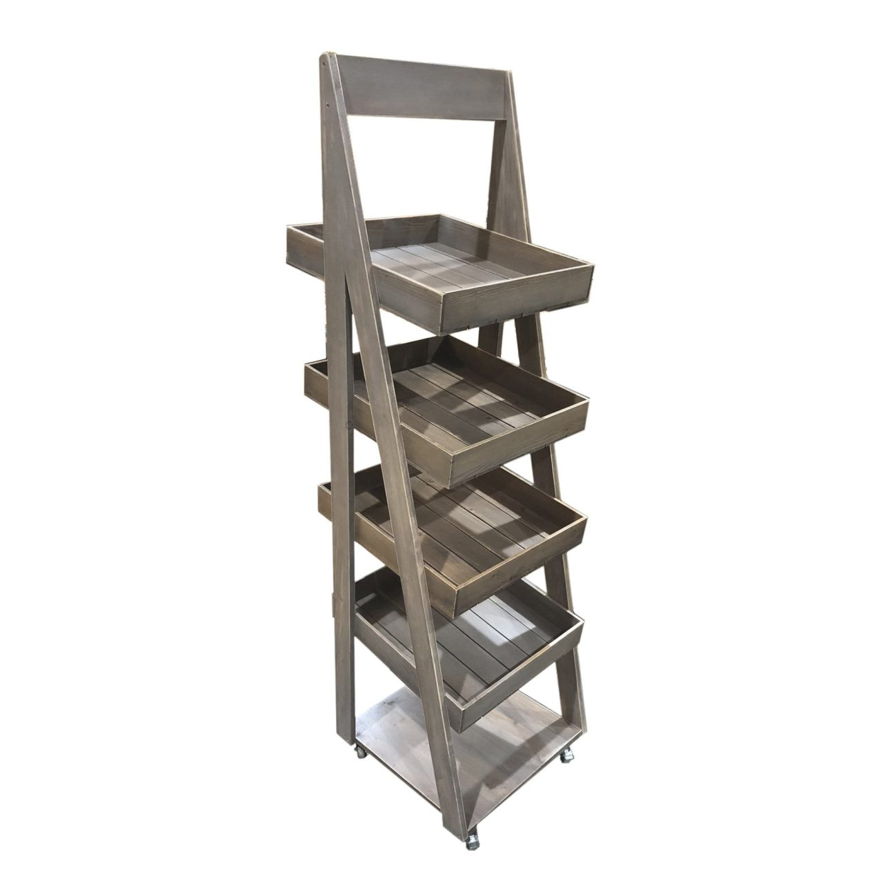 Weathered Rustic 4 Tier Slanted Wooden A Frame Display Stand 450X515X1800