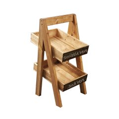Light Oak Blackboard 2-TIER SLANTED WOODEN A-FRAME DISPLAY STAND 285x236x500