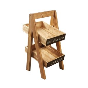 Light Oak Blackboard 2-TIER SLANTED WOODEN A-FRAME DISPLAY STAND 285x246x500