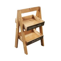 Light Oak Blackboard 2-TIER SLANTED WOODEN A-FRAME DISPLAY STAND 316x250x500