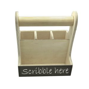 Natural Blackboard cutlery & condiment caddy 215x165x230 front view