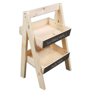 Natural blackboard 2-TIER SLANTED WOODEN A-FRAME DISPLAY STAND 316x250x500