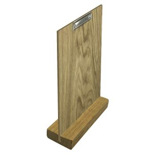 Oiled Oak Menu Holder with vertical slot and clip board 230x80x32