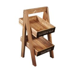 Rustic Brown blackboard 2-TIER SLANTED WOODEN A-FRAME DISPLAY STAND 285x236x500