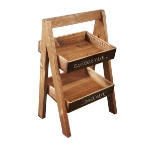 Rustic brown blackboard 2-TIER SLANTED WOODEN A-FRAME DISPLAY STAND 316x250x500