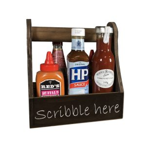 dark brown rustic blackboard condiment caddy 215x165x230 in use cut out