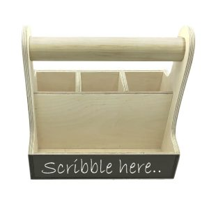 natural blackboard cutlery & condiment caddy 250x165x230 front view