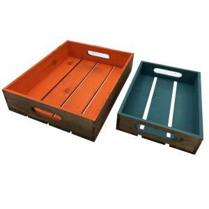 orange and turquoise colour burst trays