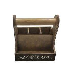 rustic brown blackboard cutlery & condiment caddy 215x165x230 front view
