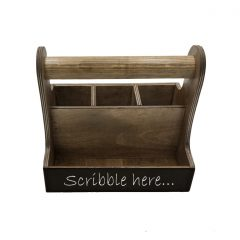 rustic brown blackboard cutlery & condiment caddy 250x165x230 front view