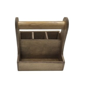 rustic brown cutlery & condiment caddy 215x165x230 front view