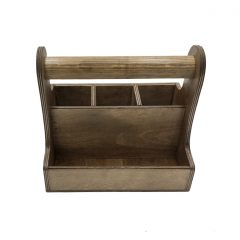 rustic brown cutlery & condiment caddy 250x165x230 front view