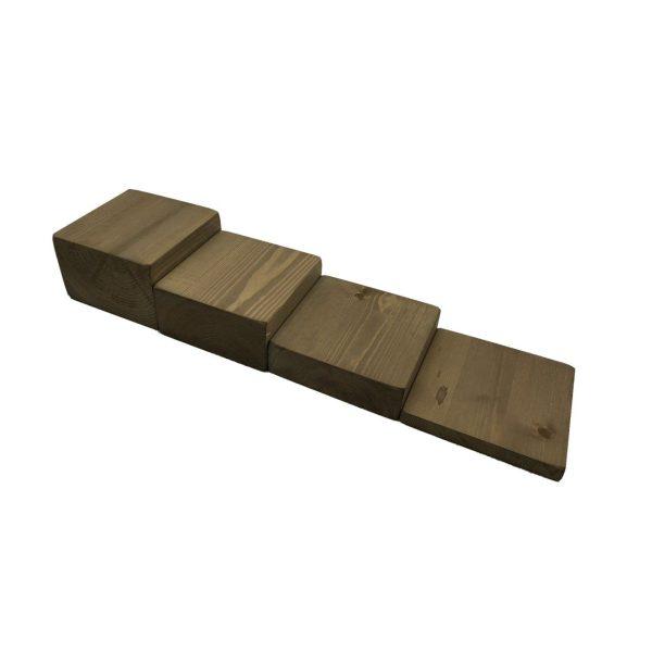 rustic brown rustic block riser set