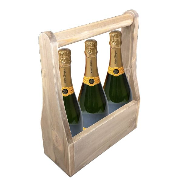 rustic champagne wine caddy 320x130x400 with veuve clicquot
