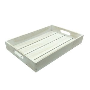 Distressed White painted slatted tray 450x300x60